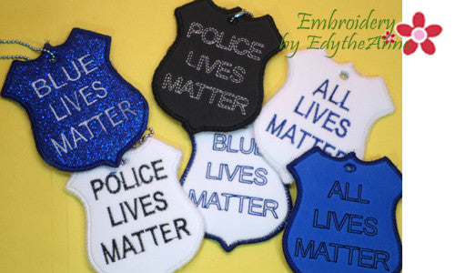 BLUE LIVES MATTER KEY FOBS - 6 designs -  INSTANT DOWNLOAD - Embroidery by EdytheAnne - 1