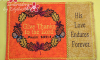 THANKSGIVING IN THE HOOP MUG MAT SET OF TWO SIZES - INSTANT DOWNLOAD - Embroidery by EdytheAnne - 2