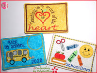 BACK TO SCHOOL IN THE HOOP MUG MAT/MUG RUGS SET. Machine Embroidery