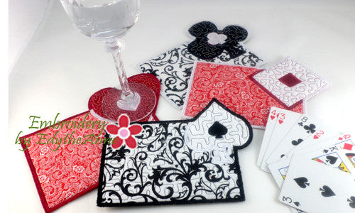 4 PIECE CARD GAME Set Machine Embroidery In The Hoop Embroidered Mug Mat/Mug Rugs.  - Digital Download