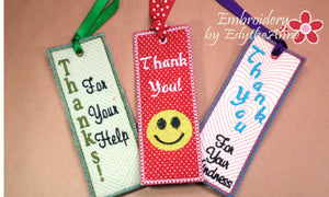Bookmarks for saying Thank You! - INSTANT DOWNLOAD - Embroidery by EdytheAnne - 1