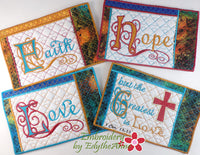 Faith Hope Love Mug Mat/Mug Rug set of Four -  Instant Download.