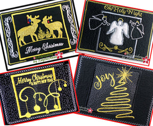 GOLDEN CHRISTMAS Mug Mats/Mug Rugs - 2 Sizes Available- DIGITAL DOWNLOAD