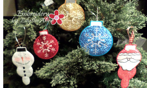 SET OF 3 IN THE HOOP CHRISTMAS ORNAMENTS -Instant Download - Embroidery by EdytheAnne - 1