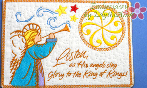 LISTEN AS HIS ANGELS SING Christmas Mug Mat/Mug Rug.  - INSTANT DOWNLOAD - Embroidery by EdytheAnne - 1