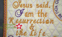 John 11:25 WHOEVER BELIEVES Faith Based Mug Mat/Mug Rug. - INSTANT DOWNLOAD - Embroidery by EdytheAnne - 4