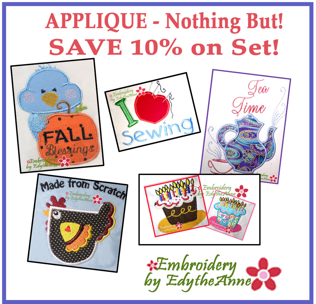 MACHINE EMBROIDERY APPLIQUE SET -Embroidery by EdytheAnne