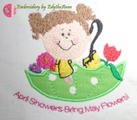 APRIL SHOWERS MACHINE EMBROIDERY DESIGN...Digital Download