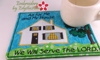 AS FOR ME AND MY HOUSE In The Hoop Machine Embroidered Mug Mat