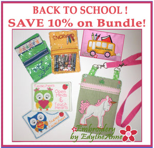 BACK TO SCHOOL BUNDLE-  Machine Embroidery Designs