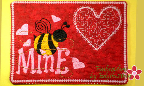 BEE MINE Valentine Mug Mat/Mug Rug - INSTANT DOWNOAD - Embroidery by EdytheAnne - 1