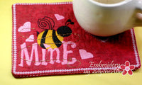 BEE MINE Valentine Mug Mat/Mug Rug - INSTANT DOWNOAD - Embroidery by EdytheAnne - 4