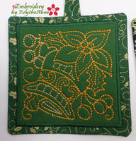 CHRISTMAS RED WORK POT HOLDERS  In The Hoop Embroidered  DIGITAL DOWNLOAD