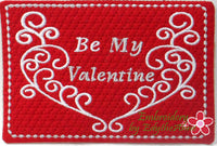 BE MY VALENTINE In The Hoop Embroidered Mug Mat.  INSTANT DOWNLOAD