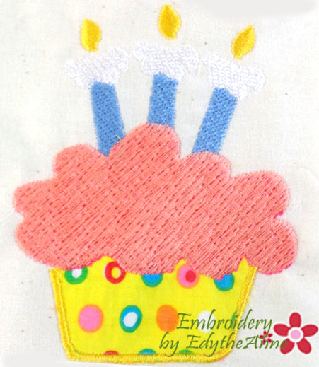 BIRTHDAY CUPCAKE APPLIQUE....Digital Download