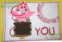 HAPPY BIRTHDAY TO YOU...In The Hoop Embroidered Mug Mat/Mug Rug Design.   - Digital File - Instant Download - Embroidery by EdytheAnne - 2