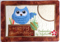 BIRTHDAY OWL...In The Hoop Embroidered Mug Mat/Mug Rug Design.- Digital Download
