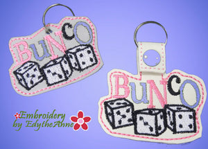 BUNCO KEY FOB Easy to stitch.  - In The Hoop Machine Embroidery