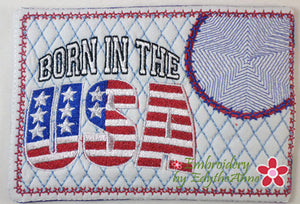 BORN IN THE USA In The Hoop Mug Mat/Mug Rug   Digital Download.