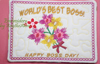 WORLD'S BEST BOSS Mug Mat/Mug Rug  - Digital File - Instant Download -