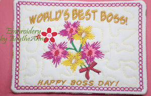 WORLD'S BEST BOSS Mug Mat/Mug Rug  - Digital File - Instant Download - - Embroidery by EdytheAnne - 1