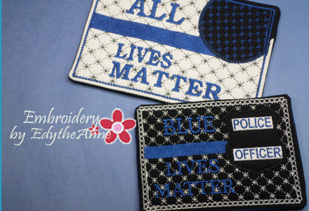 ALL LIVES MATTER...BLUE LIVES MATTER Set of 2 Designs and 2 Sizes.  In The Hoop Machine Embroidered Mug Mat/Mug Rug.  - Digital File - Instant Download - Embroidery by EdytheAnne - 1