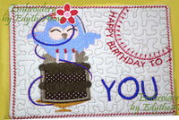 HAPPY BIRTHDAY TO YOU...In The Hoop Embroidered Mug Mat/Mug Rug Design.   - Digital File - Instant Download - Embroidery by EdytheAnne - 3