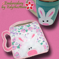 BUNNY MUG SHAPED In The Hoop Embroidered Mug Mat/Mug Rug  - Digital Download