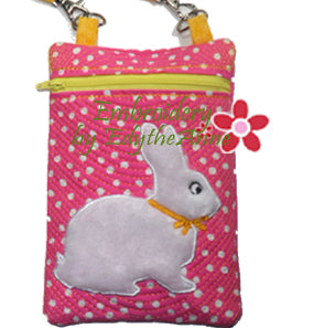 Bunny Crossbody Bag  In The Hoop Machine Embroidery - Digital Download