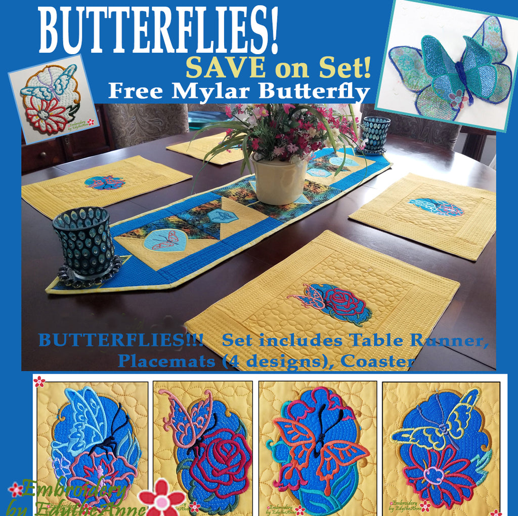 BUTTERFLIES & FLOWERS TABLE SETTING -  In The Hoop Machine Embroidery Designs