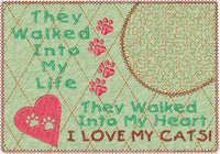 I LOVE MY CAT(s) In The Hoop Embroidered Mug Mat/Mug Rug-Digital Download