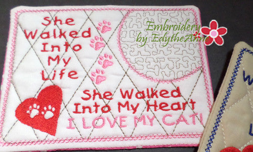 I LOVE MY CAT In The Hoop Embroidered Mug Mat/Mug Rug.  Easy and quick to stitch.  - Digital File - Instant Download - Embroidery by EdytheAnne - 2