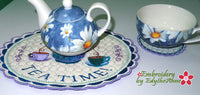 TEA TIME CENTERPIECE SET In The Hoop Machine Embroidery-Digital Download