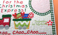 CHRISTMAS EXPRESS In The Hoop Embroidered Mug Mat Designs.   - Digital File - Instant Download - Embroidery by EdytheAnne - 2