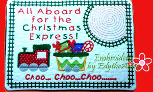 CHRISTMAS EXPRESS In The Hoop Embroidered Mug Mat Designs.   - Digital File - Instant Download - Embroidery by EdytheAnne - 1