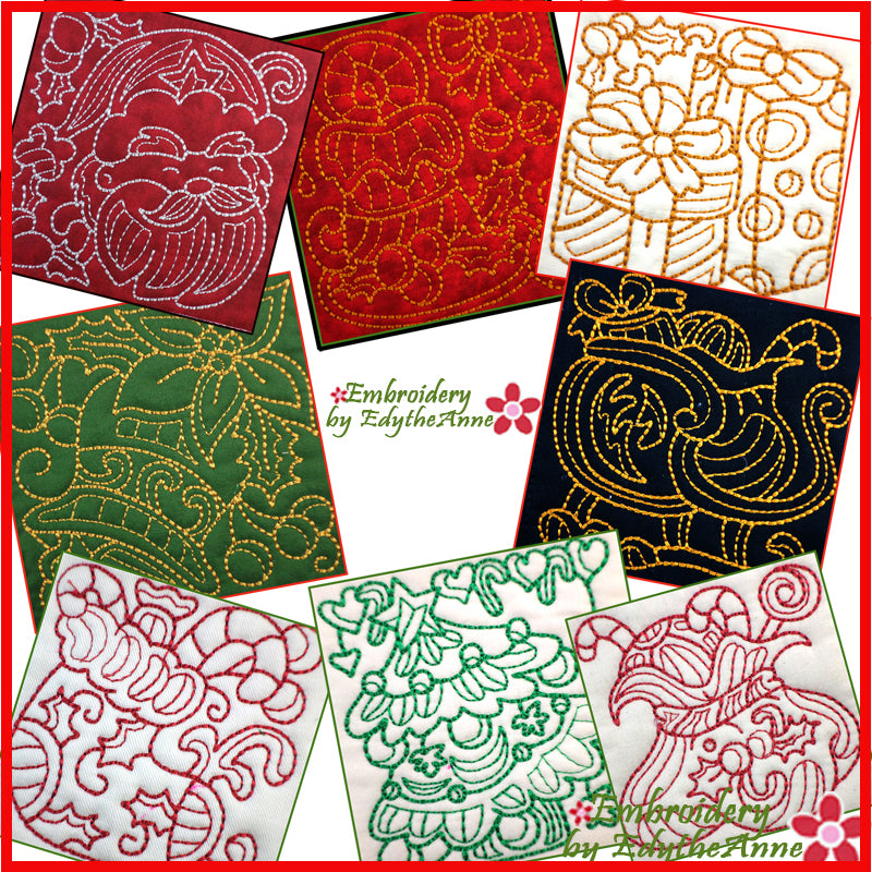 CHRISTMAS REDWORK QUILT BLOCKS  - DIGITAL DOWNLOAD