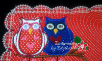 Be My SweetHoot Valentine Mug Mat/Mug Rug 2 Versions. 2 Sizes - INSTANT DOWNOAD - Embroidery by EdytheAnne - 7