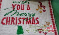 WE WISH YOU A MERRY CHRISTMAS! Christmas Mug Mat - INSTANT DOWNLOAD - Embroidery by EdytheAnne - 2