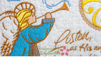 LISTEN AS HIS ANGELS SING Christmas Mug Mat/Mug Rug.  - INSTANT DOWNLOAD - Embroidery by EdytheAnne - 4