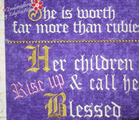 PROVERBS 31 WORD ART...WALL HANGING-  In The Hoop Machine Embroidery