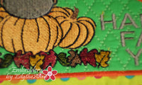 HAPPY FALL MUG MAT/MUG RUG In The Hoop Embroidery Design - Embroidery by EdytheAnne - 4