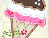 IT'S ICE CREAM TIME! In The Hoop Machine Embroidery Mug Mat/Mug Rug.  - Digital Download