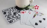 4 PIECE CARD GAME Set In The Hoop Embroidered Mug Mat/Mug Rugs.  - Digital File - Instant Download