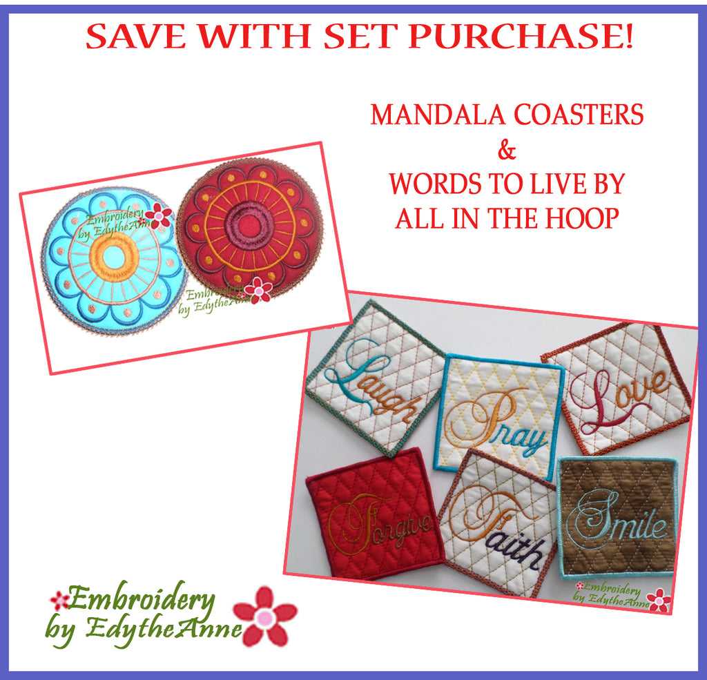COASTERS In The Hoop Set- Save on Set-Digital Downloads