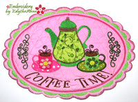 COFFEE TIME CENTERPIECE In The Hoop Machine Embroidery