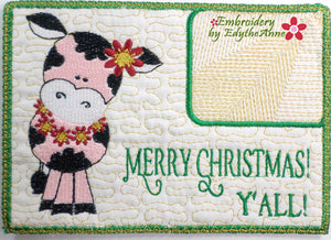 MERRY CHRISTMAS Y'ALL!  In The Hoop Embroidered Mug Mats/Mug Rugs