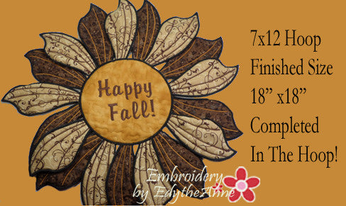 HAPPY FALL TABLE TOPPER In The Hoop Project -INSTANT DOWNLOAD - Embroidery by EdytheAnne - 1