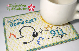 911 DISPATCHER CAREER In The Hoop Mug Mat - Digital Download