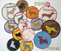 DOG BREED KEY TAGS - Choose Your Breed In The Hoop Machine Embroidery Key Tag
