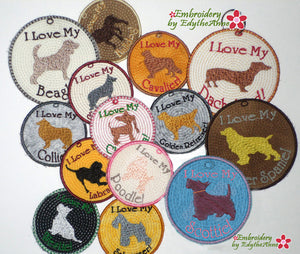 DOG BREEDS IN THE HOOP EMBROIDERY KEY TAGS